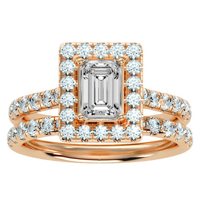 2.5 Carat Emerald Cut Halo Diamond Bridal Ring Set in 14K rose Gold (6.30 g) (