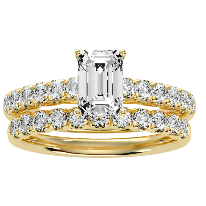 2 Carat Emerald Cut Diamond Bridal Ring Set in 14K yellow Gold (5 g) (
