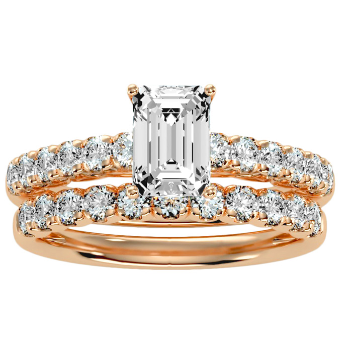 2 Carat Emerald Cut Diamond Bridal Ring Set in 14K rose Gold (5 g) (