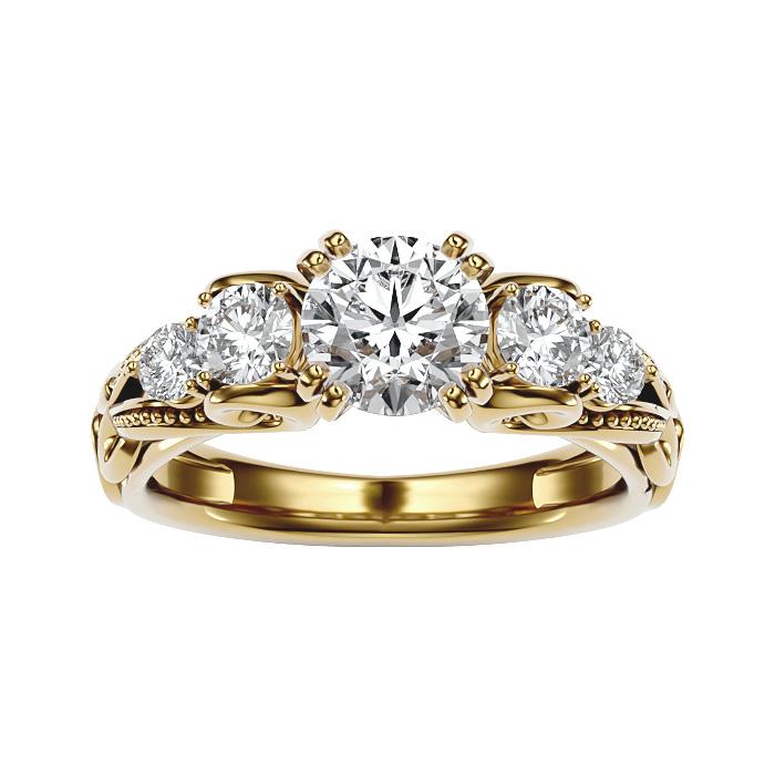 2 Carat Vintage Diamond Engagement Ring in 14K Yellow Gold (4.70 g) (