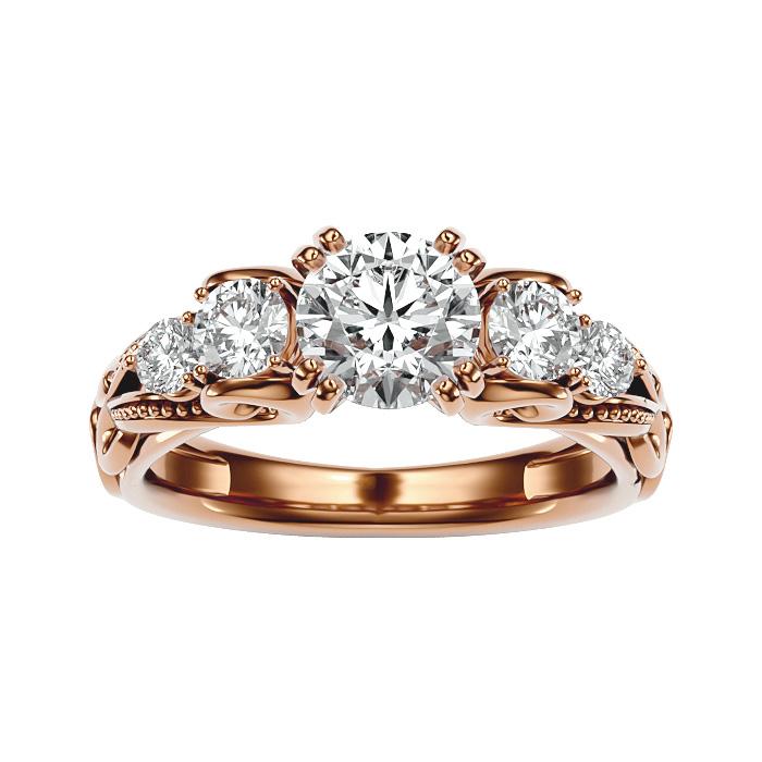 2 Carat Vintage Diamond Engagement Ring in 14K Rose Gold (4.70 g) (