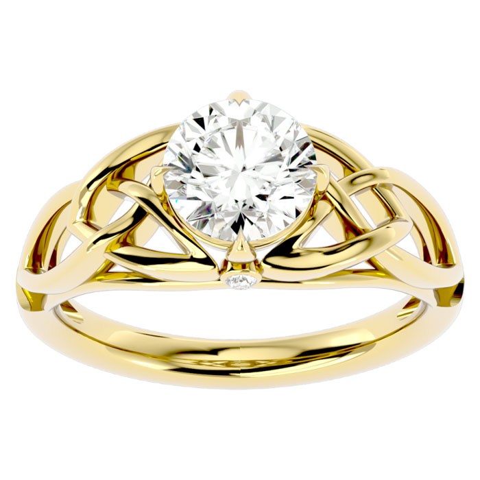 1.5 Carat Celtic Love Knot Diamond Engagement Ring in 14K Yellow Gold (4.60 g) (