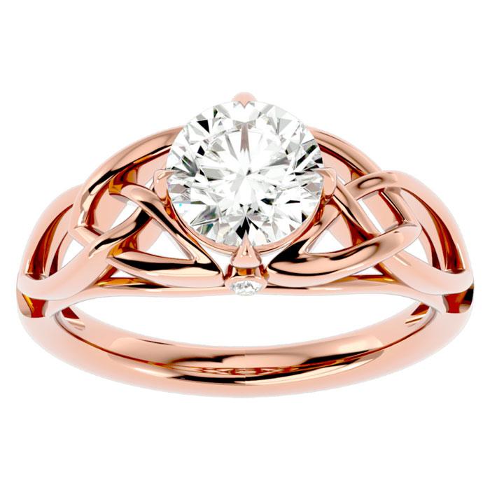 1.5 Carat Celtic Love Knot Diamond Engagement Ring in 14K Rose Gold (4.60 g) (