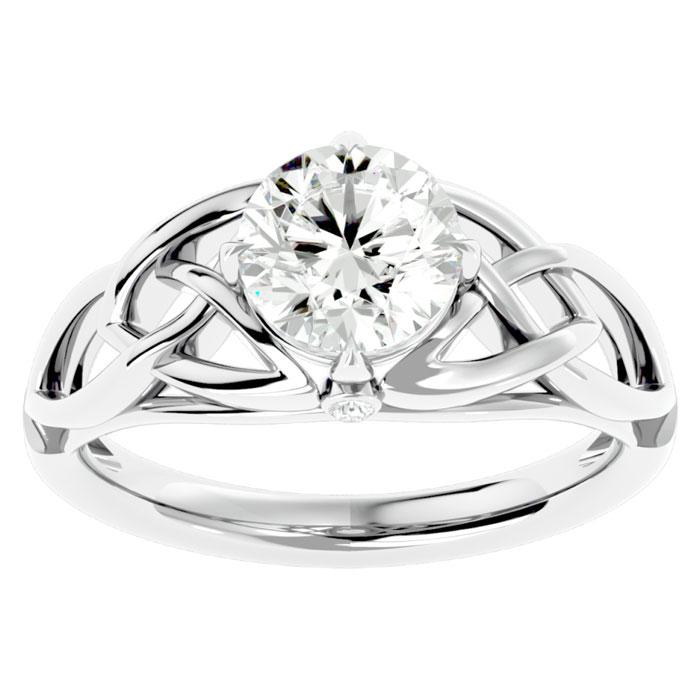 1.5 Carat Celtic Love Knot Diamond Engagement Ring in 14K White Gold (4.60 g) (