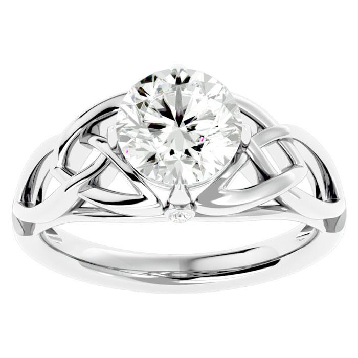 2 Carat Celtic Love Knot Diamond Engagement Ring in 14K White Gold (5 g) (