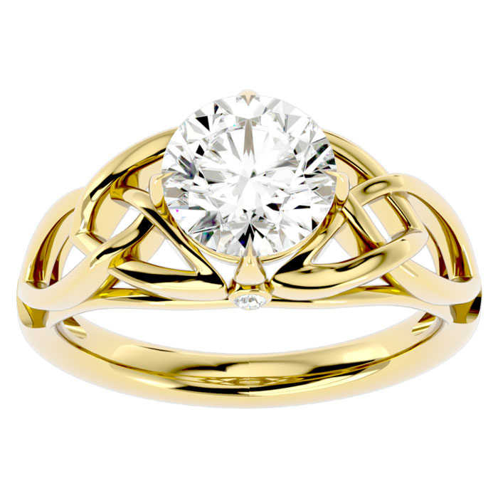 2 Carat Celtic Love Knot Diamond Engagement Ring in 14K Yellow Gold (5 g) (