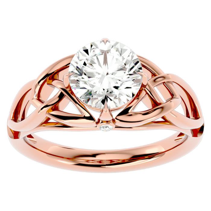 2 Carat Celtic Love Knot Diamond Engagement Ring in 14K Rose Gold (5 g) (