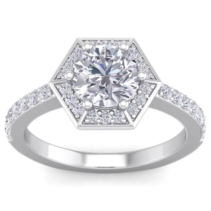 2 Carat Halo Diamond Engagement Ring in 14K White Gold (3.70 g) (