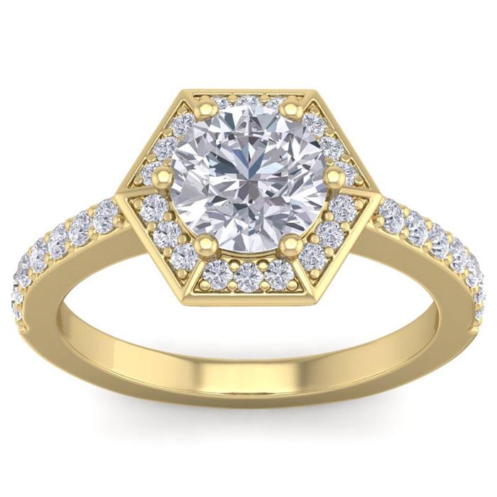 2 Carat Halo Diamond Engagement Ring in 14K Yellow Gold (3.70 g) (