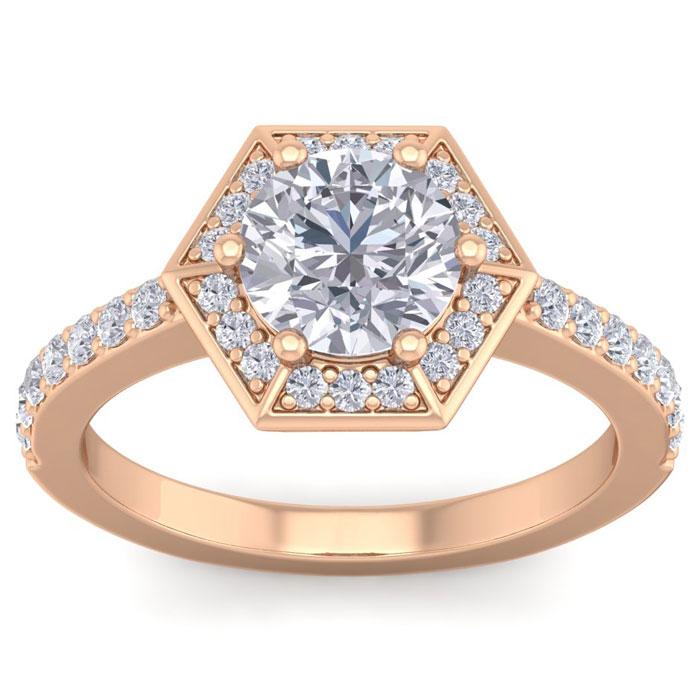 2 Carat Halo Diamond Engagement Ring in 14K Rose Gold (3.70 g) (