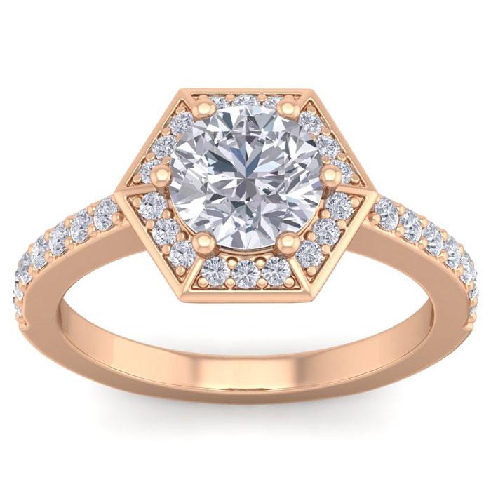 2.5 Carat Halo Diamond Engagement Ring in 14K Rose Gold (3.90 g) (