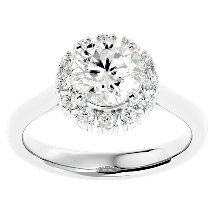 1 3/4 Carat Halo Diamond Engagement Ring in 14K White Gold (4.40 g) (