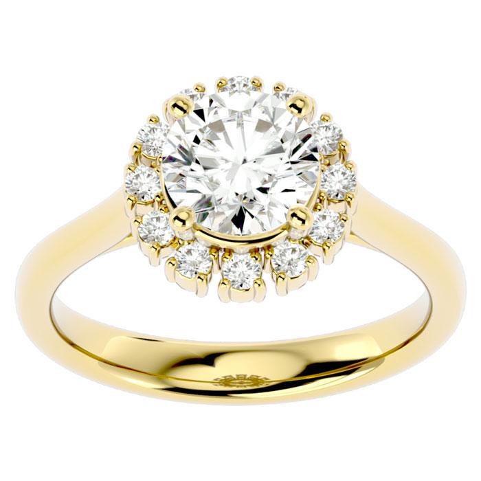 1 3/4 Carat Halo Diamond Engagement Ring in 14K Yellow Gold (4.40 g) (