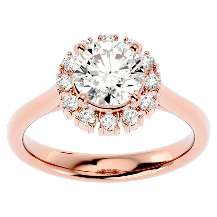 1 3/4 Carat Halo Diamond Engagement Ring in 14K Rose Gold (4.40 g) (