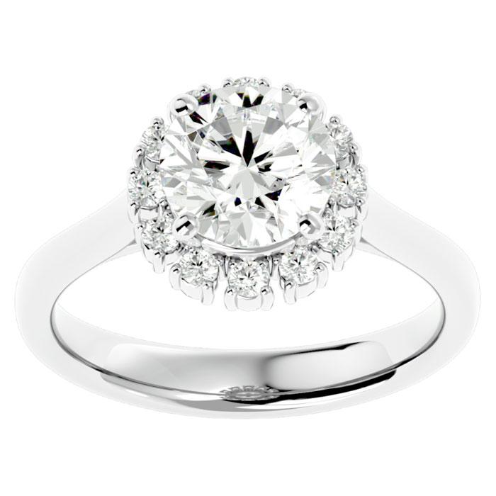 2 1/3 Carat Halo Diamond Engagement Ring in 14K White Gold (4.40 g) (
