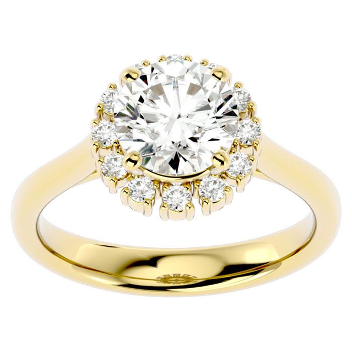 2 1/3 Carat Halo Diamond Engagement Ring in 14K Yellow Gold (4.40 g) (