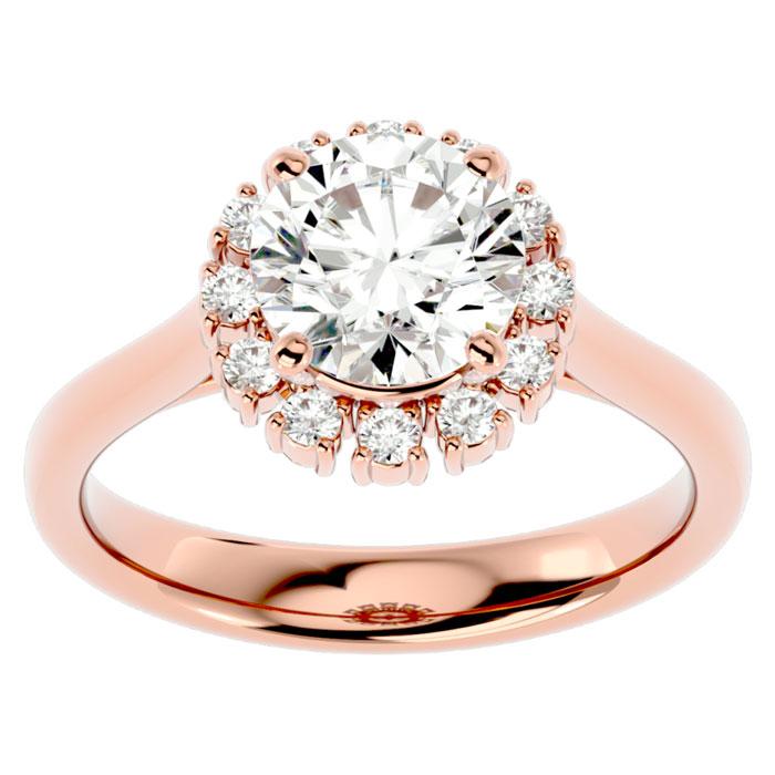 2 1/3 Carat Halo Diamond Engagement Ring in 14K Rose Gold (4.40 g) (