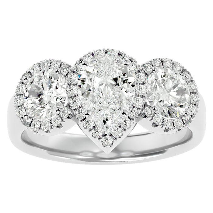 2.5 Carat Pear Shape Halo Diamond Three Stone Ring in 14K White Gold (5.50 g) (