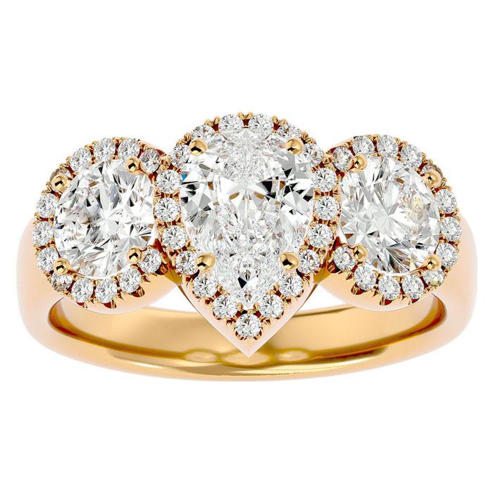 2.5 Carat Pear Shape Halo Diamond Three Stone Ring in 14K Yellow Gold (5.50 g) (