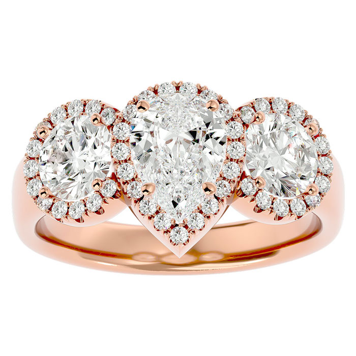 2.5 Carat Pear Shape Halo Diamond Three Stone Ring in 14K Rose Gold (5.50 g) (
