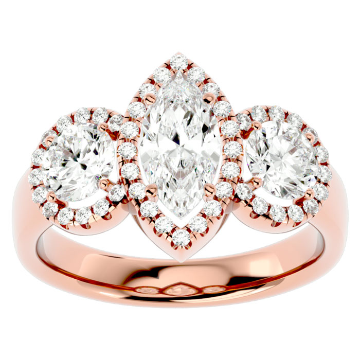 2.5 Carat Marquise Shape Halo Diamond Three Stone Ring in 14K Rose Gold (5.80 g) (