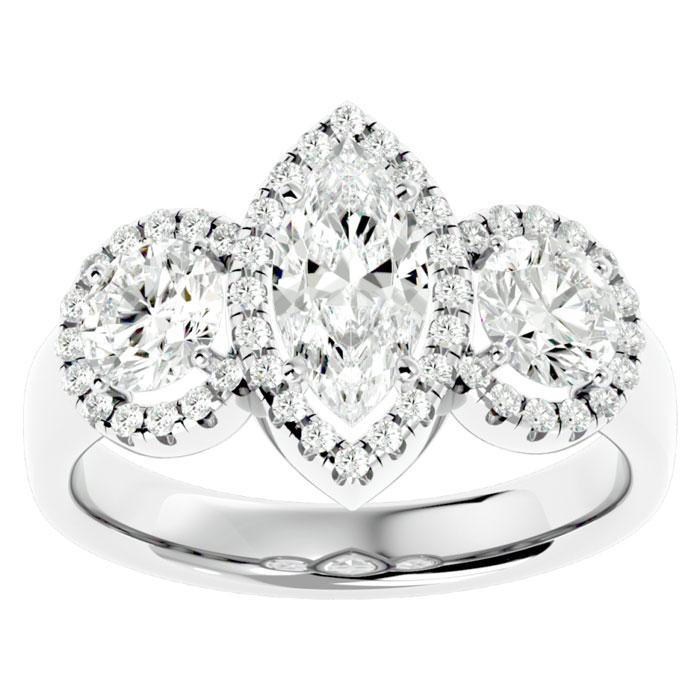 2.5 Carat Marquise Shape Halo Diamond Three Stone Ring in 14K White Gold (5.80 g) (
