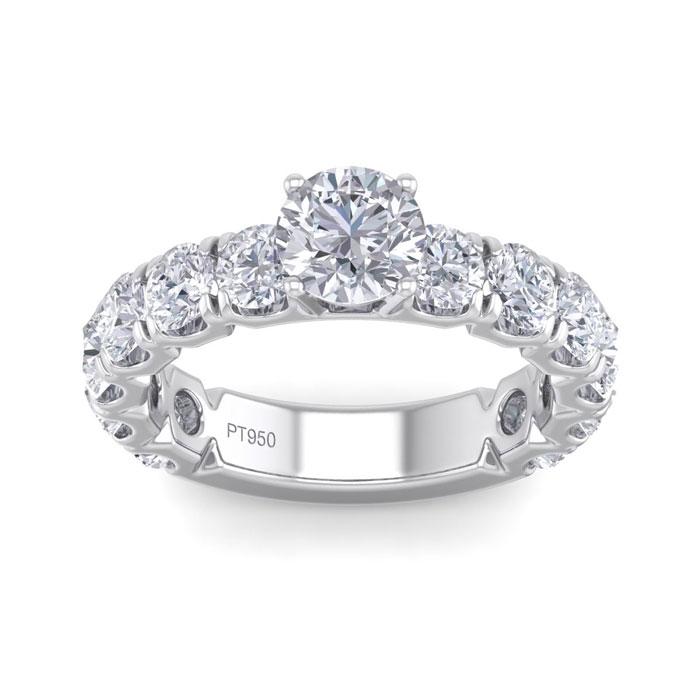 3 1/2 Carat Round Shape Diamond Engagement Ring in Platinum (