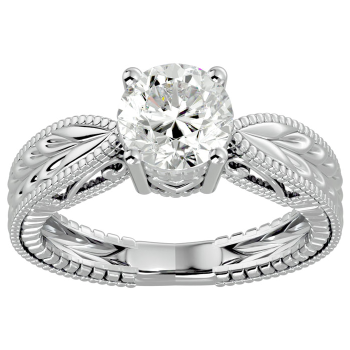 1.5 Carat Diamond Solitaire Engagement Ring w/ Tapered Etched Band in 14K White Gold (5.20 g) (