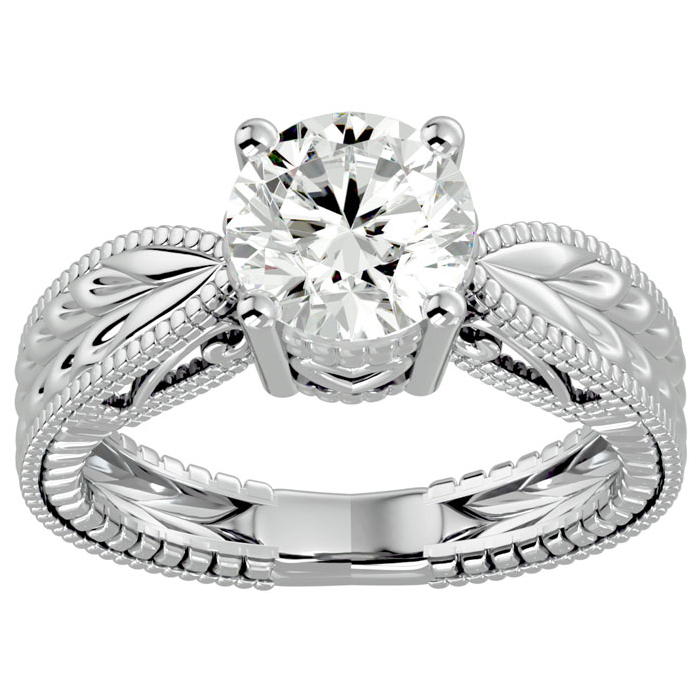 2 Carat Diamond Solitaire Engagement Ring w/ Tapered Etched Band in 14K White Gold (5.90 g) (