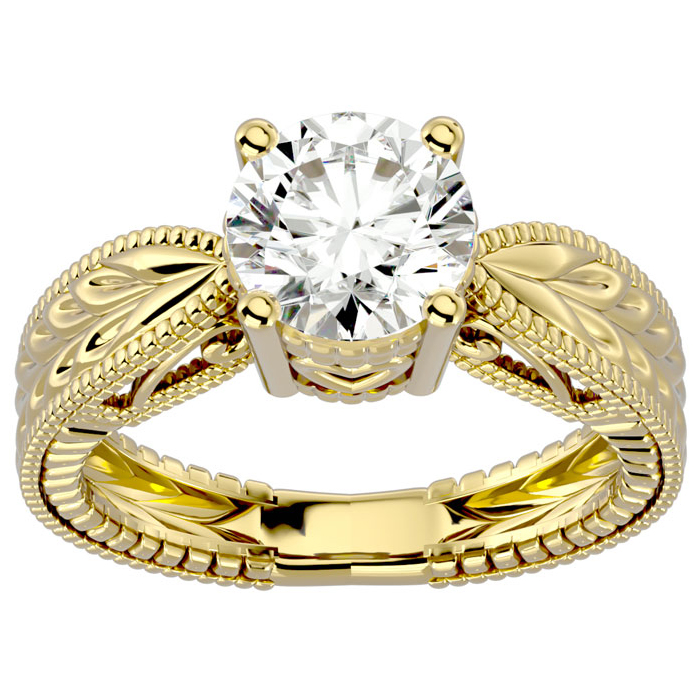 2 Carat Diamond Solitaire Engagement Ring w/ Tapered Etched Band in 14K Yellow Gold (5.90 g) (