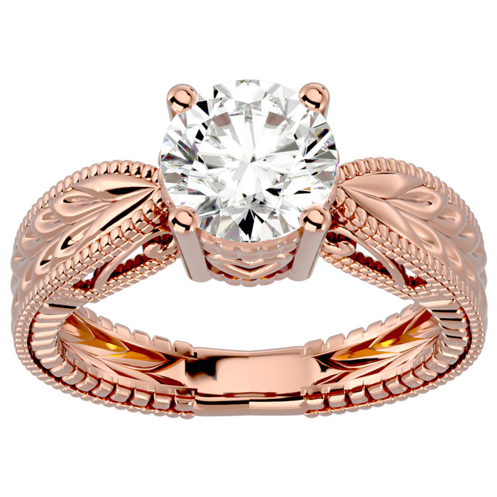 2 Carat Diamond Solitaire Engagement Ring w/ Tapered Etched Band in 14K Rose Gold (5.90 g) (