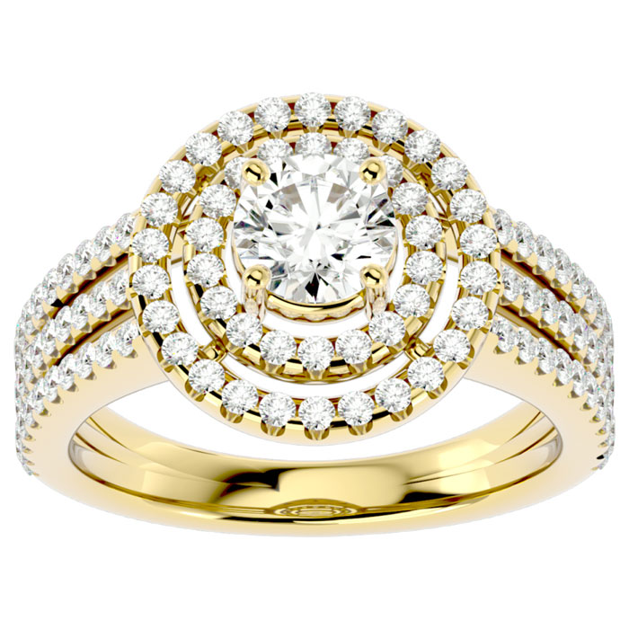 2 Carat Double Halo Diamond Engagement Ring in 14K Yellow Gold (6 g) (