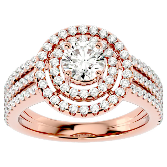 2 Carat Double Halo Diamond Engagement Ring in 14K Rose Gold (6 g) (