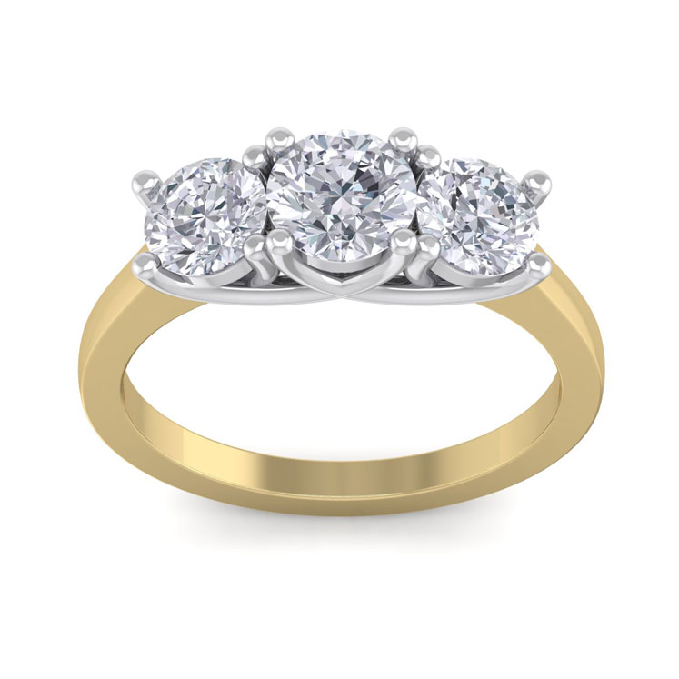 2.15 Carat Three Colorless 3 Diamond Engagement Ring in 14K Yellow Gold