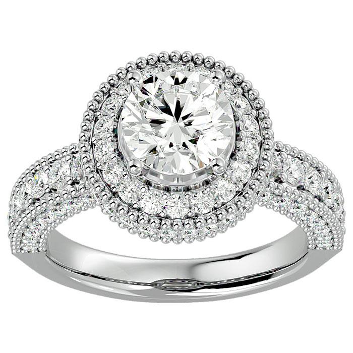 2 3/4 Carat Halo Diamond Engagement Ring in 14K White Gold (3 g) (
