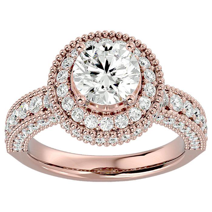 2 3/4 Carat Halo Diamond Engagement Ring in 14K Rose Gold (3 g) (