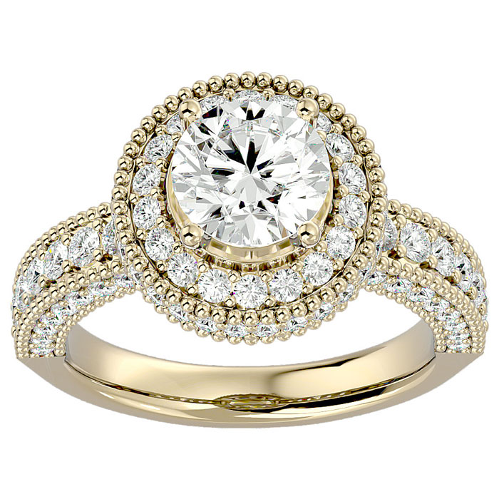 2 3/4 Carat Halo Diamond Engagement Ring in 14K Yellow Gold (3 g) (