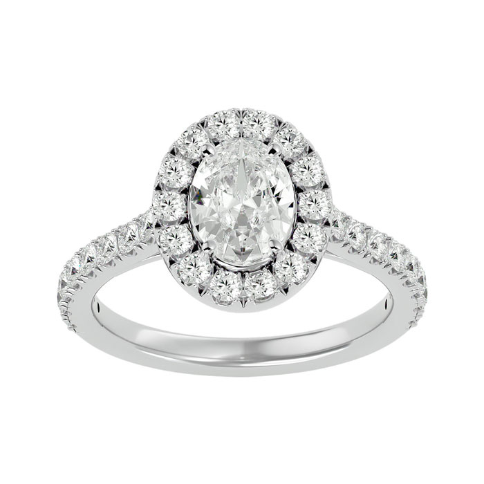 1 3/4 Carat Oval Shape Halo Diamond Engagement Ring in 14K White Gold (4.80 g) (