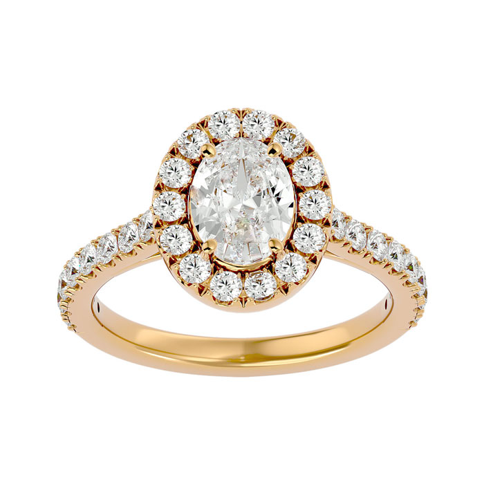 1 3/4 Carat Oval Shape Halo Diamond Engagement Ring in 14K Yellow Gold (4.80 g) (