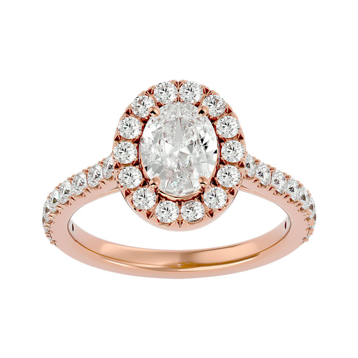 1 3/4 Carat Oval Shape Halo Diamond Engagement Ring in 14K Rose Gold (4.80 g) (