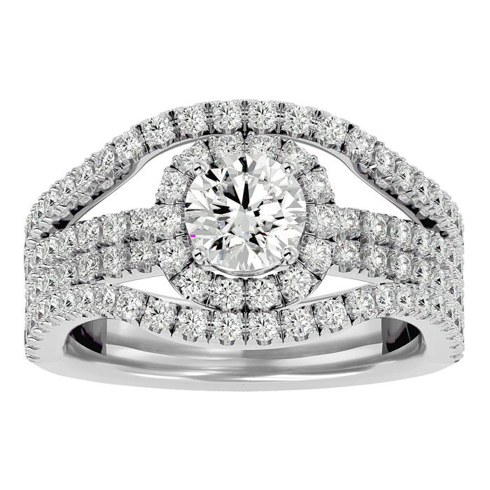 2 Carat Halo Diamond Engagement Ring in 14K White Gold (6.70 g) (