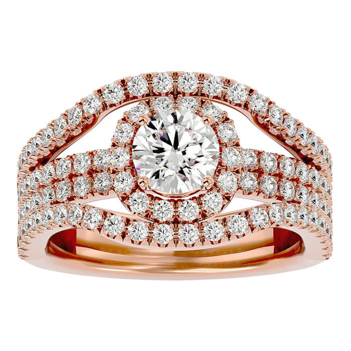 2 Carat Halo Diamond Engagement Ring in 14K Rose Gold (6.70 g) (
