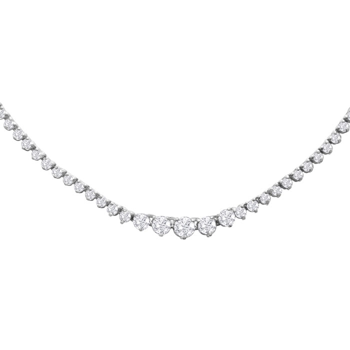 Graduated 5 Carat Diamond Tennis Necklace in 14K White Gold (17 g) (