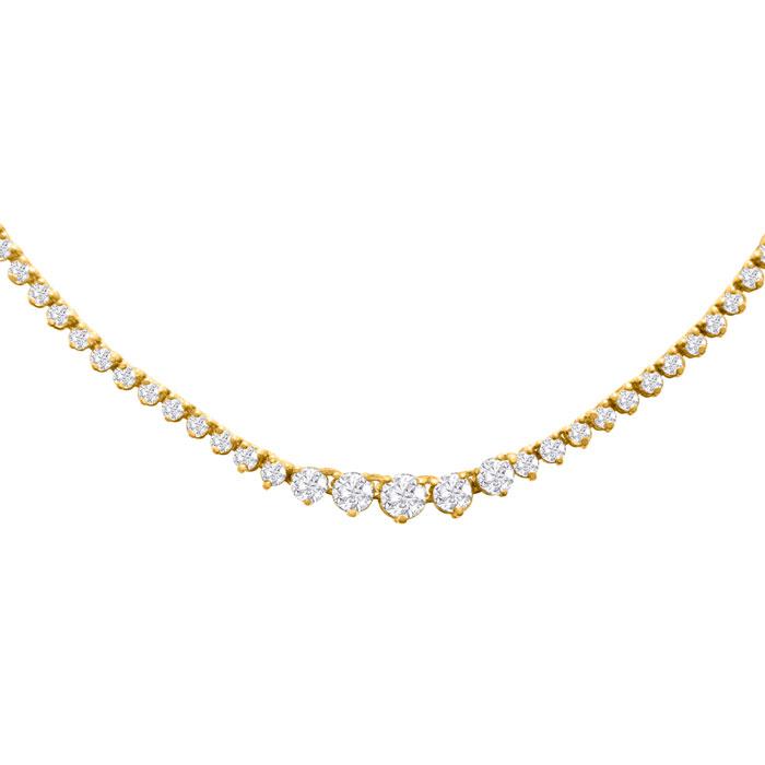 Graduated 5 Carat Diamond Tennis Necklace in 14K Yellow Gold (17 g) (