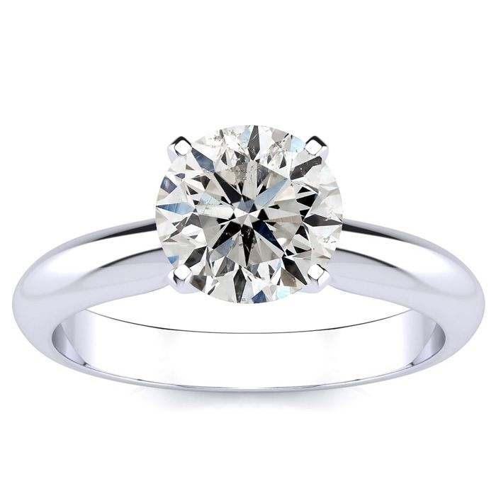 1.5 Carat Diamond Solitaire Engagement Ring in 14K White Gold (