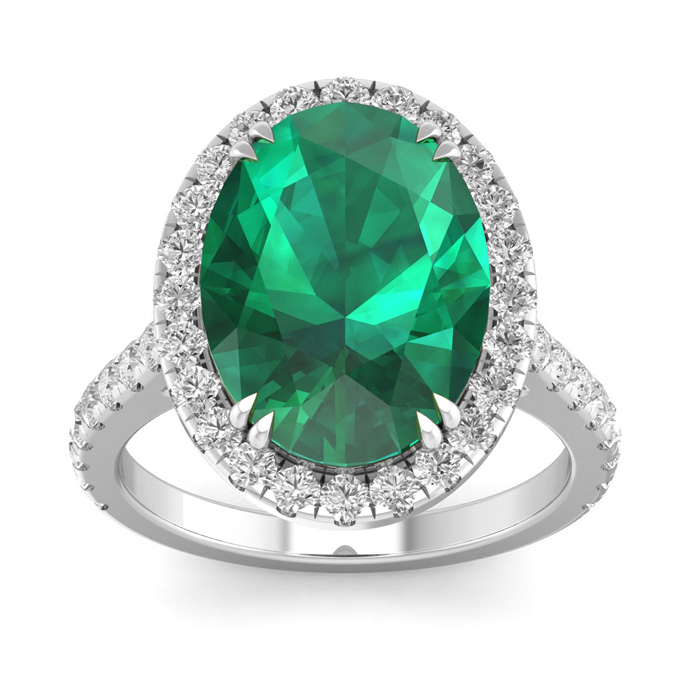 9.15 Carat Oval Shape Zambian Emerald Cut & 42 Diamond Ring in 14K White Gold (4.70 g)