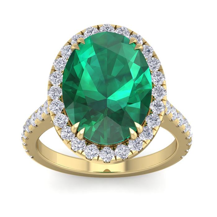 9.15 Carat Oval Shape Zambian Emerald Cut & 42 Diamond Ring in 14K Yellow Gold (4.70 g)