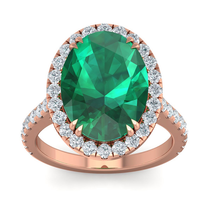 9.15 Carat Oval Shape Zambian Emerald Cut & 42 Diamond Ring in 14K Rose Gold (4.70 g)