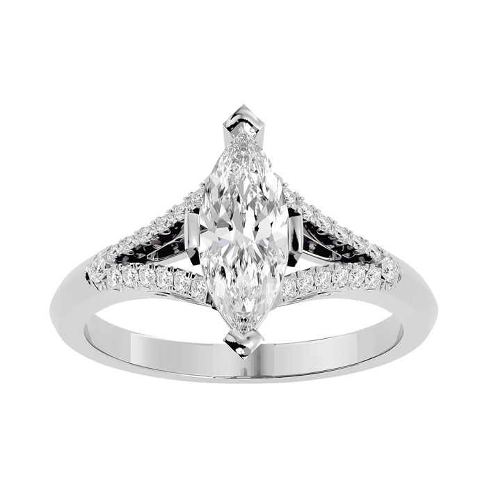 1.25 Carat Marquise Shape Diamond Engagement Ring in 14K White Gold (4.10 g) (