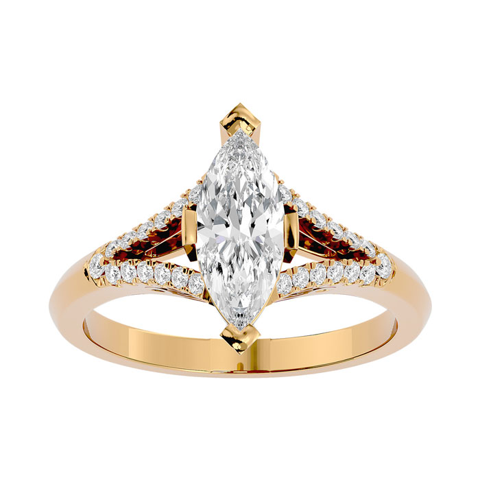 1.25 Carat Marquise Shape Diamond Engagement Ring in 14K Yellow Gold (4.10 g) (